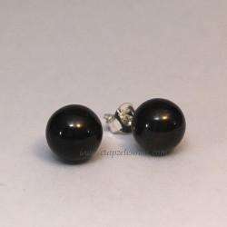 Azabache en esferas montadas en pendientes de plata de ley