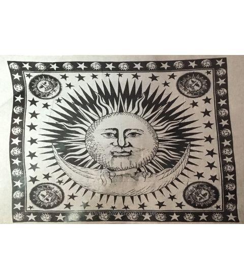 Tapiz Sol Luna y Estrellas con flecos en bordes realizado en algodón