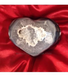 Geoda corazón de ágata y calcedonia