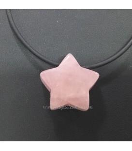 Cuarzo rosa talla Estrella perforada para colgante