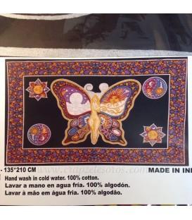 Mujer mariposa en tapiz de algodon