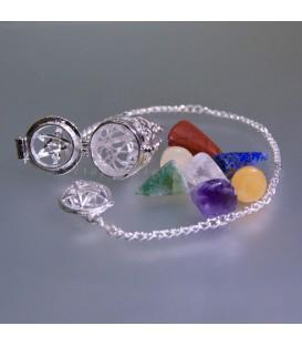 Péndulo relicario Salomón con siete gemas de los chakras