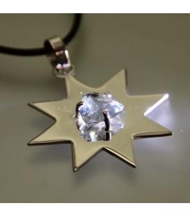 Prasio en colgante estrella de plata de ley