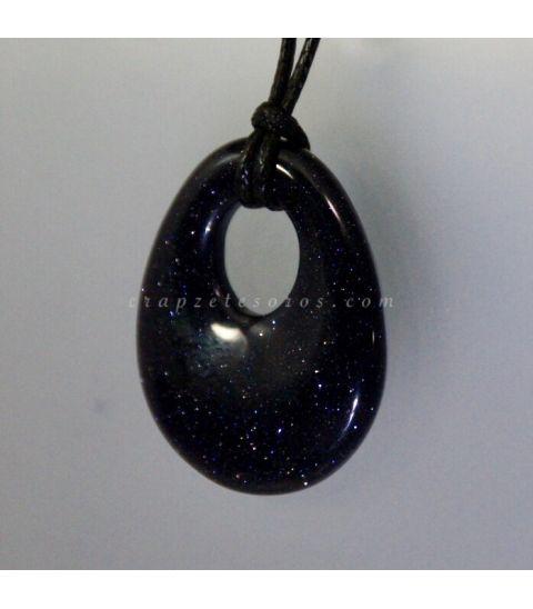 Aventurina azul o estrellada forma elipse en colgante agujereado
