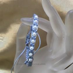 Perlas naturales cultivadas en pulsera de macramé ajustable y terminación de plata
