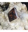 Obsidiana caoba en anillo de plata de ley ajustable