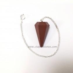 Pendulo hexagonal de Jaspe rojo con cadena