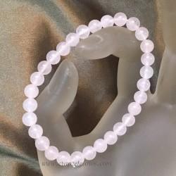 Cuarzo rosa en pulsera elastica de esferas 6mm facetadas