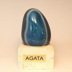 Ágata azul de Brasil en peana de Travertino