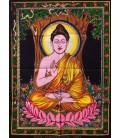 Buda meditación sobre tapiz de algodón 110x75 cm