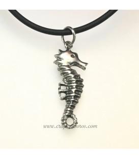 Hipocampo o caballito de mar en colgante de plata de ley