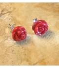 Rosa de Coral Bambu rojo en pendientes de plata