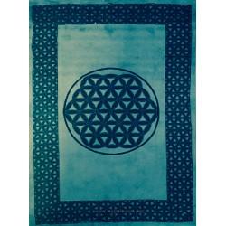 Flor de la vida estampada sobre tapiz de algodón azul
