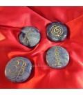 Set rodados planos de Cuarzo azul para Reiki