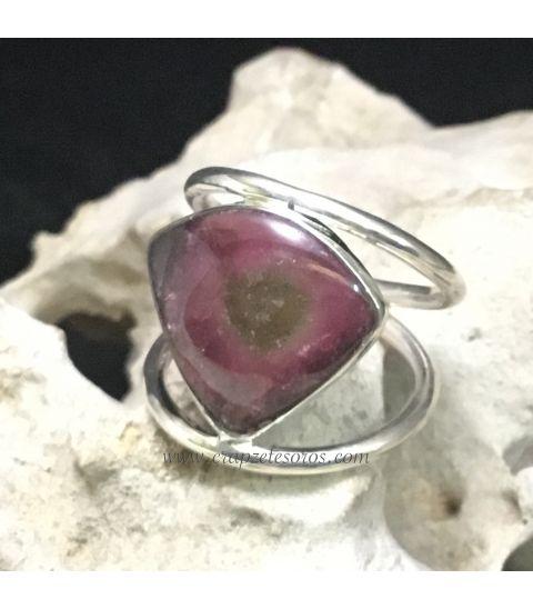 Turmalina sandía en anillo exclusivo de plata de ley
