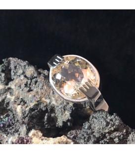 Berilo rosado amarillento, Morganita-Heliodoro gema facetada en anillo de plata de ley