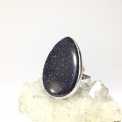 Aventurina noche o azul en anillo de plata de ley ajustable