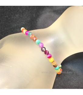Ágatas multicolor en pulsera de esferitas de 4mm