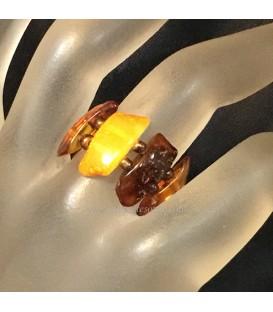 Ambar en anillo elastico de placas multicolor
