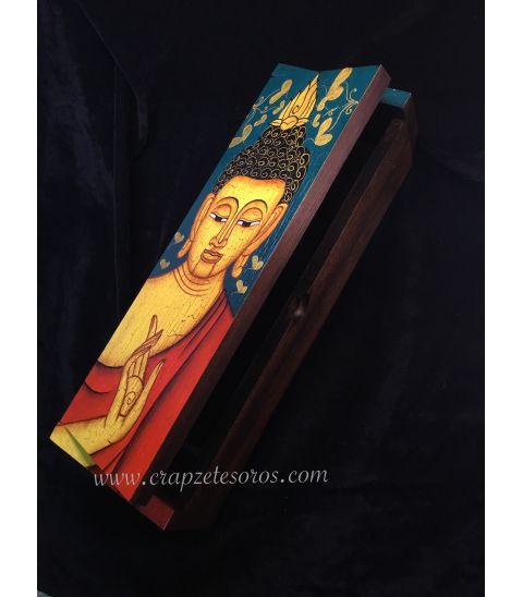 Buda en caja de madera de Teka de la India policromada