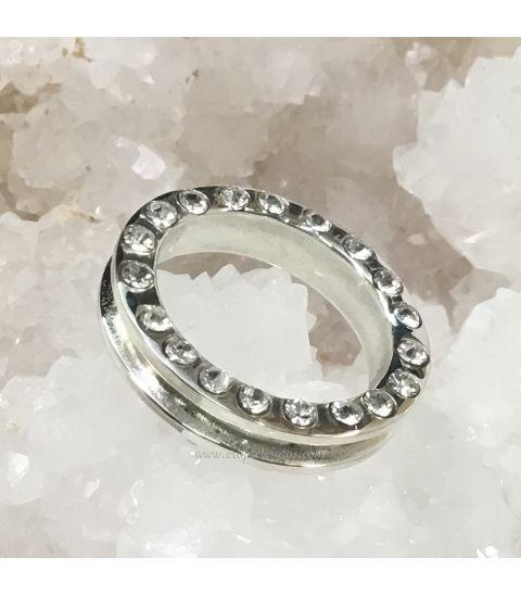 25 circonitas en anillo doble aro de plata de ley. 100 % hecho a mano