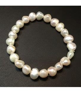 Perlas cultivadas naturales en pulsera elástica