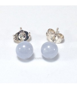 Calcedonia en pendientes de esferas y plata