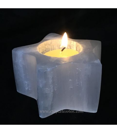 Selenita piedra Luna tallada como estrella portavelas