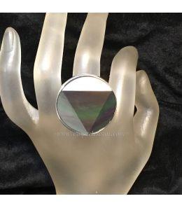 mejor sitio web 8942d 0d26e Obsidiana arcoiris triangular en anillo de plata de ley hecho a mano 100%