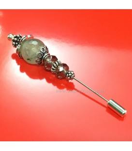 Aguja broche de Prehnita y cuarzo ahumado en plata de ley