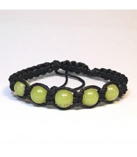Jade talla esfera en pulsera macramé ajustable