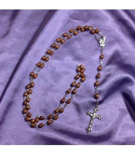 Rosario catolico de madera y metal