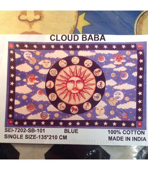 Tapiz de algodón con Zodíaco en cielo azul