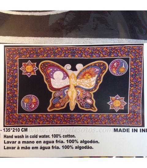 Tapiz de algodón con Mujer Mariposa