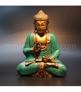 Buda de resina de Indonesia con túnica amarilla