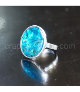 Haliotis en anillo ajustable de plata de ley