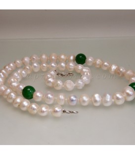 Collar de Perlas naturales y ónix verde con cierre de plata