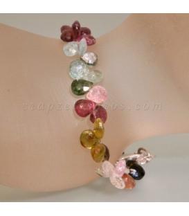 Turmalina multicolor talla gota facetada en pulsera con cierre de plata de ley