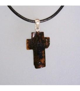 Cruz étnica de Ámbar negro en colgante de plata de ley