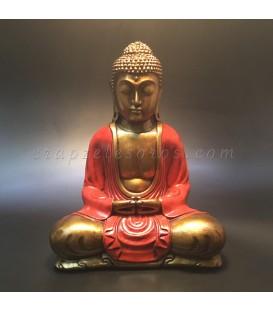 Buda meditación túnica dorada de Indonesia en cuerpo de resina