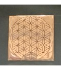 Espectacular Flor de la vida grabada en base de cobre rectangular