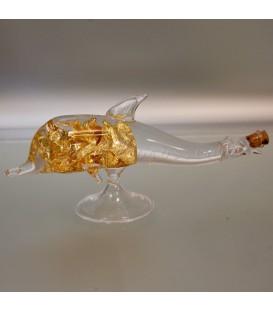 Oro de ley en láminas dentro de delfín de cristal