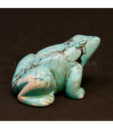 Turquenita tallada en forma de rana
