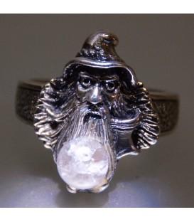 Esfera de cuarzo en anillo Merlín de plata de ley