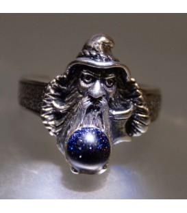 Esfera de Aventurina cielo en anillo Merlín de plata de ley