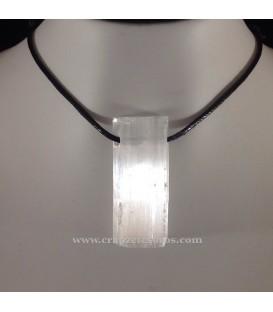 Piedra Luna Selenita barra en colgante con cordón