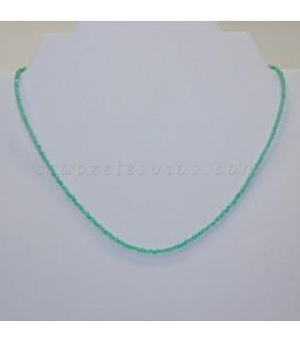 Ágatas verdes talla esferitas en collar con cieres de plata de ley