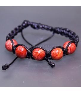 Coral manzana talla esfera en pulsera de algodón ajustable