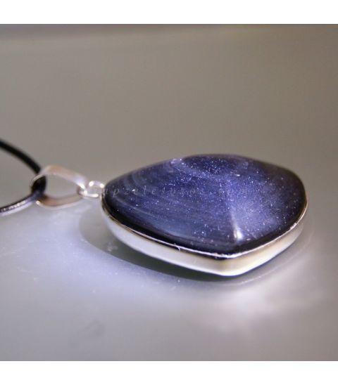 Obsidiana arcoiris talla corazón en colgante de plata de ley