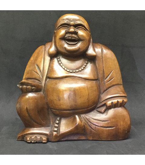 Buda Hotei tallado a mano en madera de la India